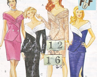 Off the Shoulder Jacket, Fitted Skirt, Evening Suit/ McCalls 7453 two piece Mother of Bride Evening Dress UnCut Sewing pattern Size 12 14 16