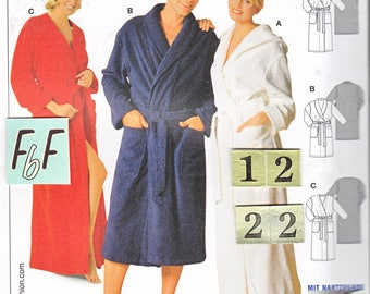 Easy Men's Women's Hooded Robe Sash Sewing Pattern/ Simplicity 7417 Classic Shawl collar, wrap housecoat Uncut/ Bust/Chest 34 36 38 40 42 44