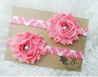 Pink Coral Deer headband, Your choice Pink Teal Mustard deer, Baby girl headband, Newborn headband, Hunting headband, Deer nursery