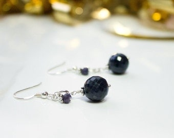 Blue sapphire earring, sterling silver drop earring, precious gemstone, jewelry set, genuine sapphire, gift for her, September birthday