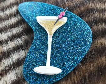 Blue martini boomerang glitter resin brooch