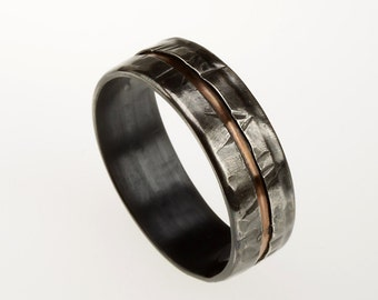 Mens Wedding Band, Rustic Men's Ring, Silver Copper Ring, Wide Men Wedding Band, 8 mm Ring, Men's Anniversary Gift,  Two Tone Ring, RS-1081