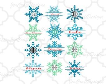 Snowflake SVG Monogram Frames Svg Eps Png Dxf,digital download - Silhouette Cricut DS,vector Clip Art graphics Vinyl Cutting Machines
