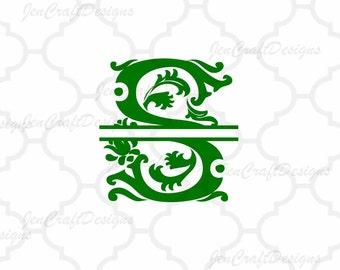 Regal Split Monogram SVG A-Z Alphabet, Ready to Cut SVG DXF Eps Png Cut Files, Royal File for Silhouette Studio, Cricut ,Vinyl Cut Files