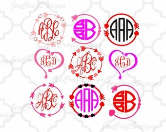 Heart Arrow Monogram Frames SVG, valentine SVG Eps Png Dxf,  Valentine Cricut DS Silhouette Studio, Digital Cut Files Instant Download