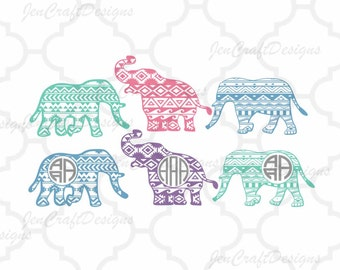 Aztec print Elephant Cuttable Svg cutting file Monogram frame, SVG EPS Png DXF, Cricut Design Space, Silhouette Studio,Digital Cut Files