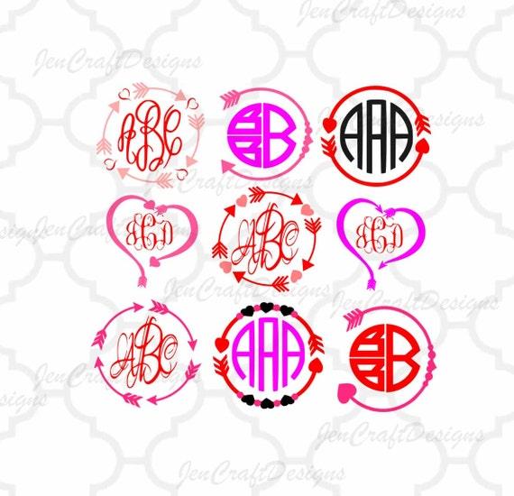 Heart Arrow Monogram Frames Svg Valentine Svg Eps Png Dxf