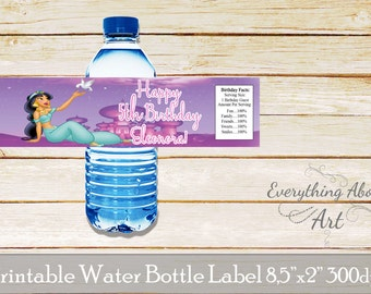 Jasmine water bottle label, Princess Jasmine birthday party, Jasmine birthday, Princess Jasmine bottle wraps, princess labels, Jasmine theme