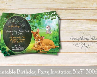 Bambi birthday invitation, Deer birthday invitation, Bambi birthday party, Printable invitation, Deer birthday party, Deer theme invitation