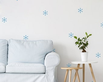 45 X Snowflake Wall Decals / Christmas Pattern Holiday Wall Stickers / Home Decor / Living Room Decoration