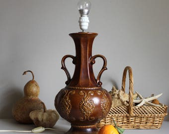 Vintage WEST GERMANY Glazed Ceramics Table or Floor Lamp Base by BAY Keramik Company Model 558-45, Retro 60s 70s West German Art Pottery
