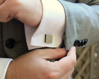 Blue Pine Square Wood Cufflinks