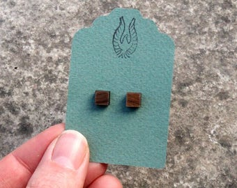 Square Walnut Wood Studs, Square Wood Post Earrings, Mens Earrings, Hipster, Wooden Earrings, Geometric Studs