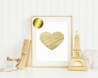Scribble Heart Gold Foil Print / 8x10 OR 5x7 Real Gold Foil Heart Print / Wall Art Printable