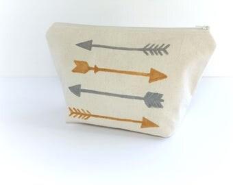 Cosmetic bag - Arrow Cosmetic bag - Zipper Pouch - Large Zipper Bag - Make Up Bag - Toiletry Bag - Pouch Bag