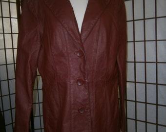 Women's Burgundy Leather Jacket-Retro 80's