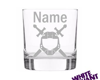 Personalised Halo Sword Etched Tumbler/High-Ball/Pint Glass Gift