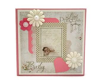 Unique Memory Book, Baby Memory Book, Baby Girl Scrapbook Album, Photo Album, Baby Shower Gift, New Baby Journal, Pink Baby Keepsake Book