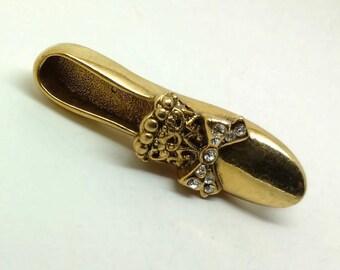 Vintage Gold Tone and Rhinestone Slipper Brooch