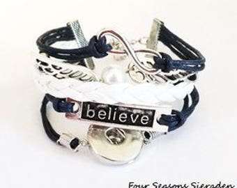 Snap bracelet Believe for 1 snap charm, Ginger Snaps jewelry, Snap charms, Snap bracelet, Snap jewelry, Christmas gift ideas, Gift for her