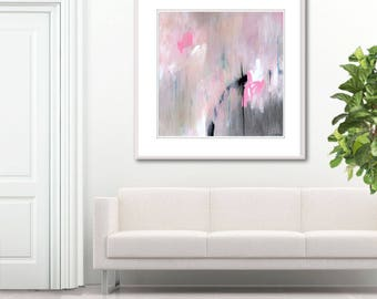 Soothing abstract painting canvas art, wall art print, large minimalist Abstract Painting, pink grey black, original abstract painting Largo