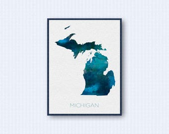Michigan Map Watercolor Poster, United States Map Print, Blue Version