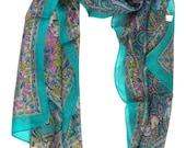 Elephant Silk Scarf,Green Teal Pink silk wrap,Paisley silk scarf,100%Silk,kashmiriScarf,Head scarf,Block printed scarf,Paisley fabricXS236GR