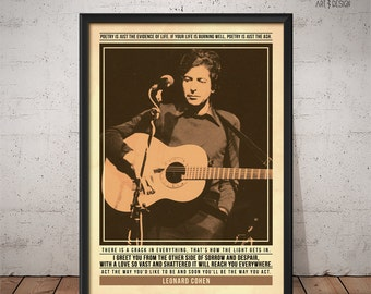 Leonard Cohen Poster - Quote Retro Music Poster - Music Print, Wall Art