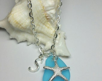 20% DISCOUNT SALE, Blue Seaglass Starfish Necklace, Personalised Beach Glass Necklace, Silver Handmade Costume Jewellery, Beach Jewellery