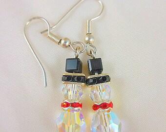 Crystal Beaded Snowman Earrings