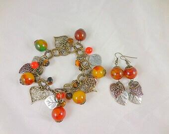 Autumn Leaves Glass Beaded Bracelet and Earrings Set