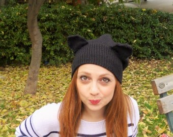Knitted cat hat/ Cat hat/ Slouchy hat/ Cat beanie/ Cat ears hat/ Slouchy cat hat/ Black cat beanie/ Knit slouchy hat/ Slouchy beanie