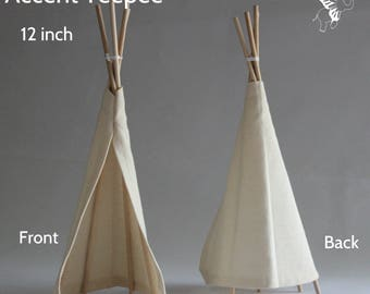 boho baby shower decoration - natural canvas - 12 inch accent teepee - party decor