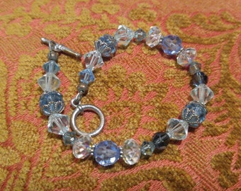 "Lovely Blue and White Crystal Toggle Bracelet-7.5"" long"