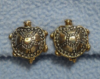 Delightful Gold and Silvertone Turtle Clip Earrings