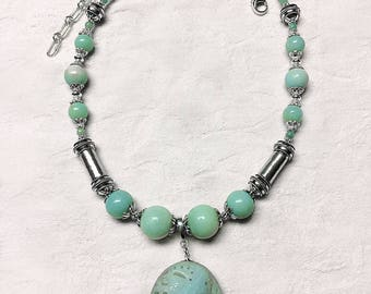 Amazonite and .925 Sterling Silver Necklace