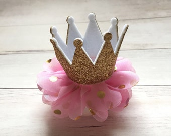 Pink and gold birthday hair clip  / Toddler birthday clip / 1st birthday clip / First birthday clip / Gold crown / Pink and Gold Birthday