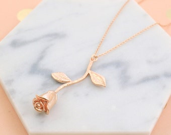 Rose Gold Rose Stem Pendent Necklace, Rose Necklace, Bridesmaid Gift, Birthday Gift, Layered Necklace