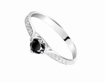 Black Engagement Ring Black Promise Ring for Her Black Wedding Ring Delicate Engagement Ring Small Engagement Ring Black Ring Stacking Ring