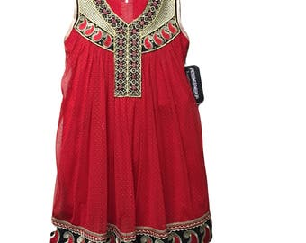 Kids Red Anarkali, Girls Red & Black Anarkali Dress, Size 5 Years, Indian, Pakistani, Bollywood Kids Anarkali Dress