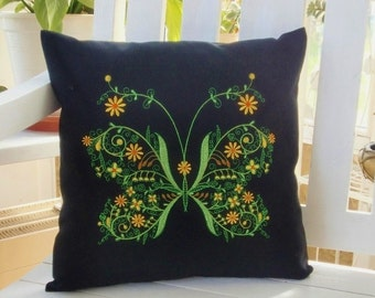 Pillowcase embroidered Butterfly