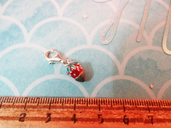 Sterling Silver stamped .925 Strawberry Charm Chocolate dipped with lobster clasp clip enamel enameled Valentines Day Champagne Date Love