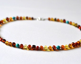 Amber Necklace with coral and turquoise Handmade Sterling Silver Summer Necklace