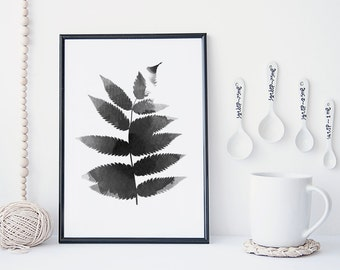 Black and white leaf art print, botanical wall art, watercolor leaf poster, nature art print, minimal & simple illustration, home decor,