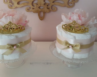 Pink, Blush Pink And Gold Baby Shower Decorations Two Single Tier Diaper  Cakes 6 Inches