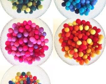 Felt Balls, 12mm (1/2 in)  100% Wool  Beads, Qty: 25 or 50. Wool felt beads. 1.2cm felt balls. Pom poms for crafting, mobile, garland, toys.