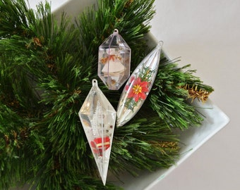 Vintage Jewel Brite Diorama Christmas Ornaments, Early Jewel Brite