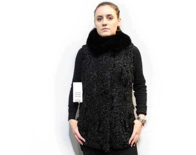 Real Fur Astrakhan-Karakul with Fox Collar Vest F230