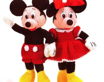 Vintage Crochet Pattern- Mickey and Minnie from 1970