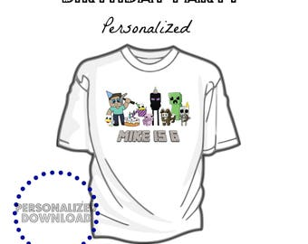 PERSONALIZED DOWNLOAD Boy Mine themed printable, Party, Birthday, tshirt image, tshirt download, iron on file